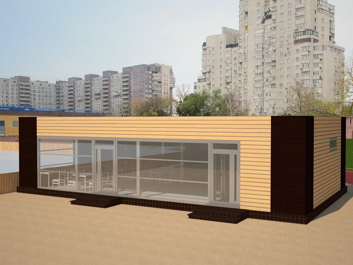Проект торгового павильона площадью 107,8 м2