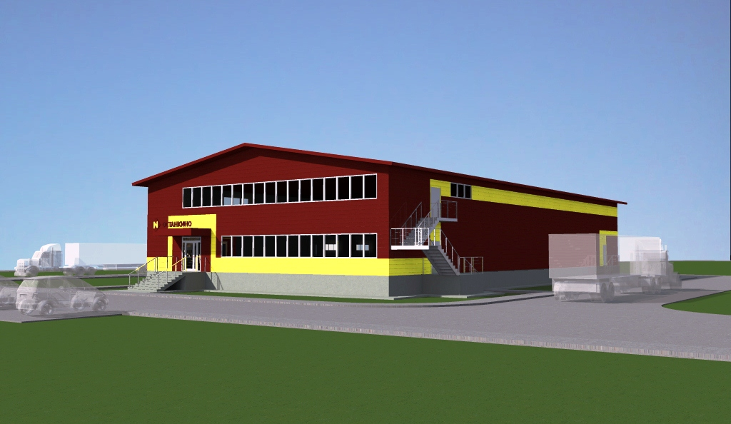 Проект здания торгового дома общей площадью 1190 кв.